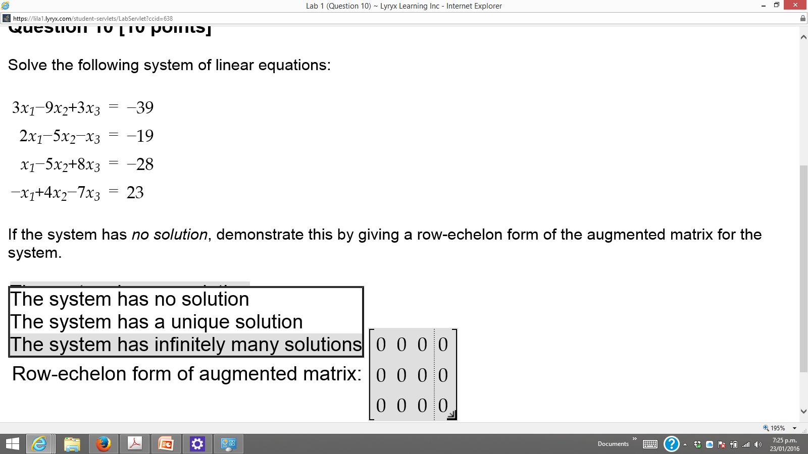 Solved: Lab 1 (Question 10) Lyryx Learning Inc-Internet Ex