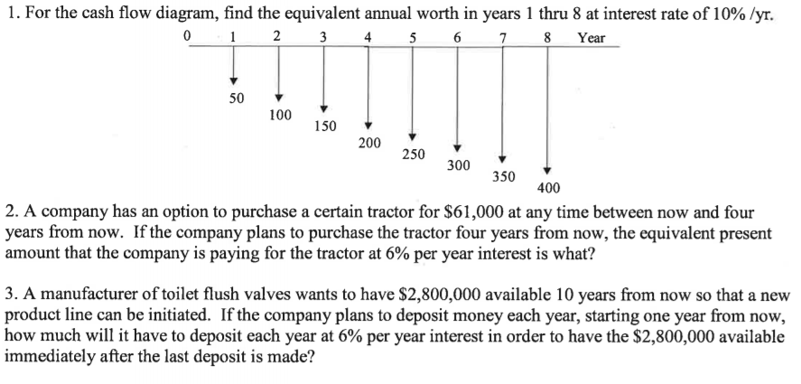 for the cash flow diagram, find the equivalent annual worth in years l thru  8