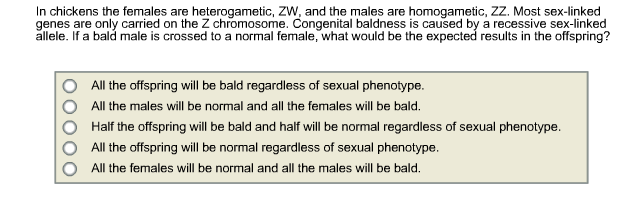 Solved: In Chickens The Females Are Heterogametic, ZW, And
