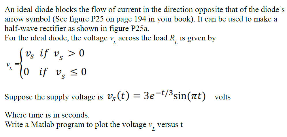 Solved An Ideal Diode Blocks The Flow Of Current In The D