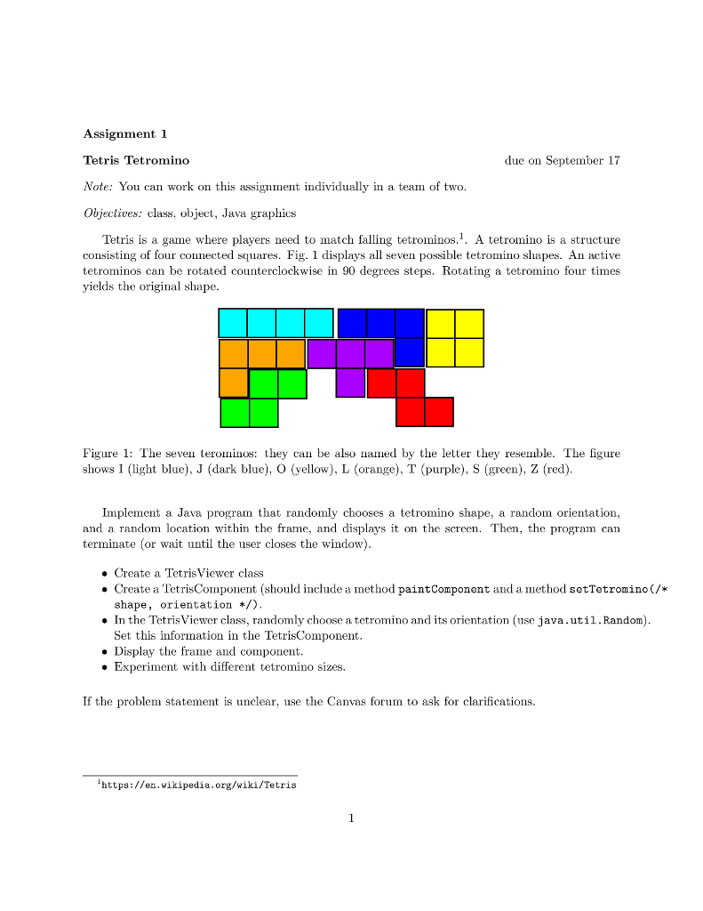 Computer science archive september 11 2017 chegg assignment 1 tetris tetromino note you can work on this assignment individually in a team ccuart Image collections