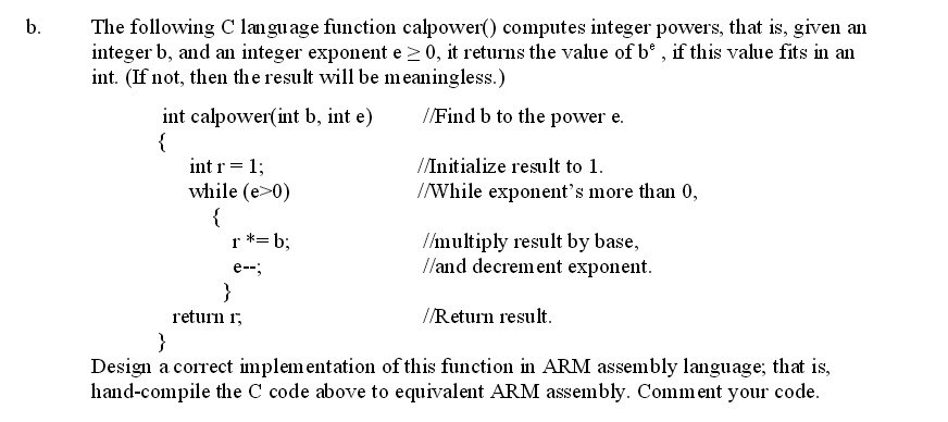 Solved: B  The Following C Language Function Calpower Comp