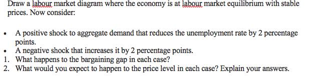 Labour Market Diagram | Solved Draw A Labour Market Diagram Where The Economy Is