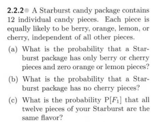 Solved: A Starburst Candy Package Contains 12 Individual C