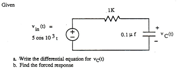 Solved: Write The Differential Equation For Vc(t) And Find