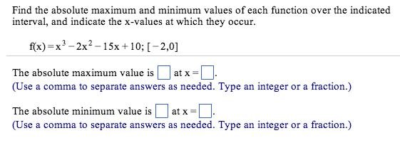 Solved: Find The Absolute Maximum And Minimum Values Of Ea