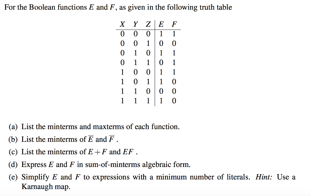 Electrical engineering archive september 11 2017 chegg for the boolean functions e and f as given in the following truth table 00 fandeluxe Image collections