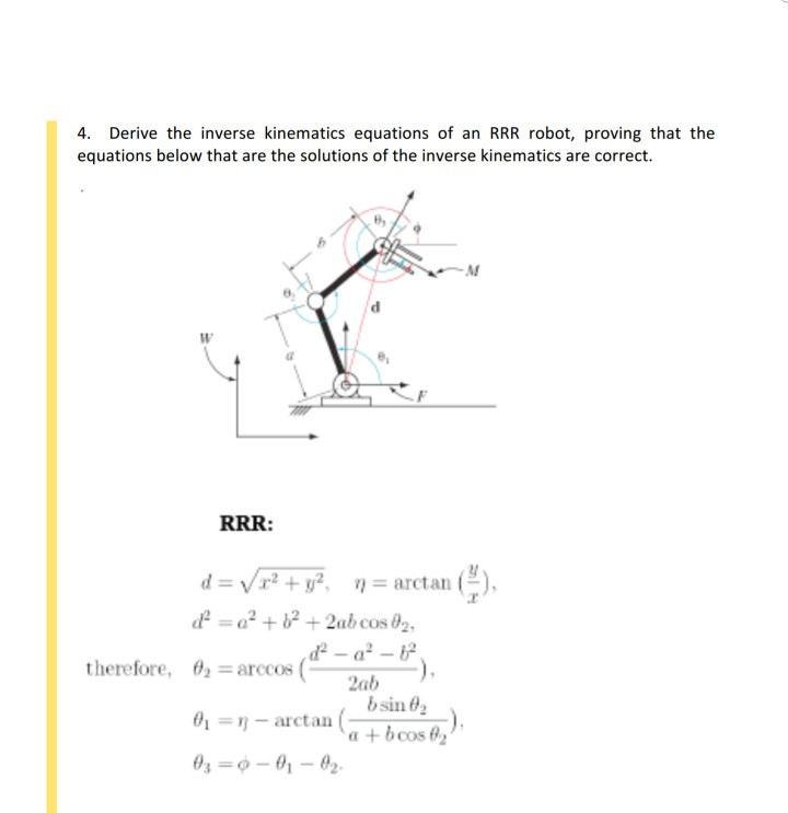 solved 4 derive the inverse kinematics equations of an r