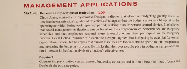 participative or self imposed budgeting This is known as 'bottom-up budgeting' it contrasts with imposed or top-down budgets where the ultimate budget holder does not have the opportunity to.