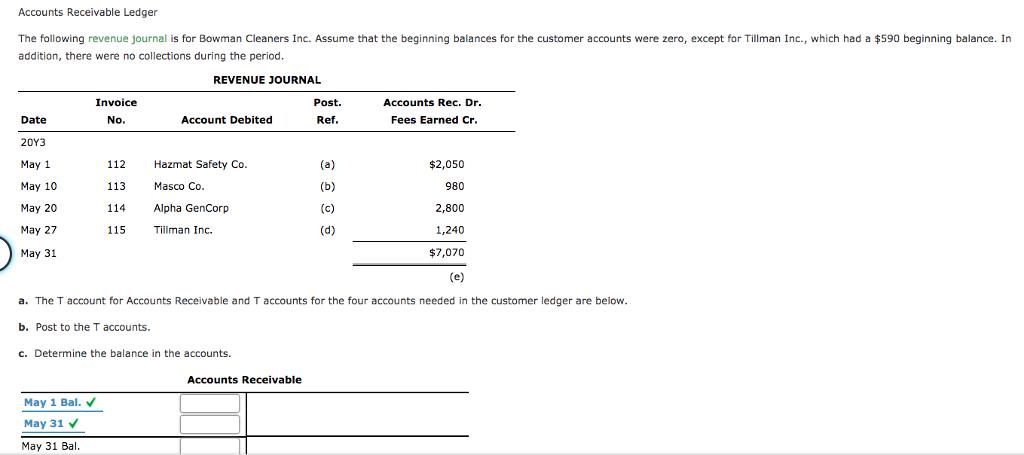 solved accounts receivable ledger the following revenue j