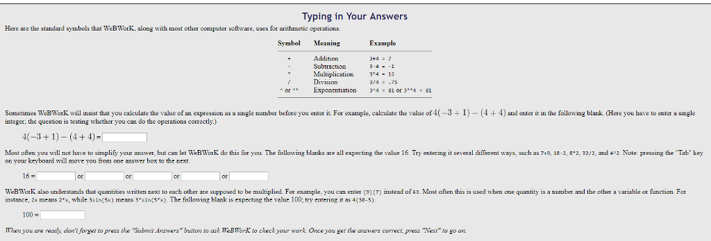Solved Typing In Your Answers Here Are The Standard Symbo