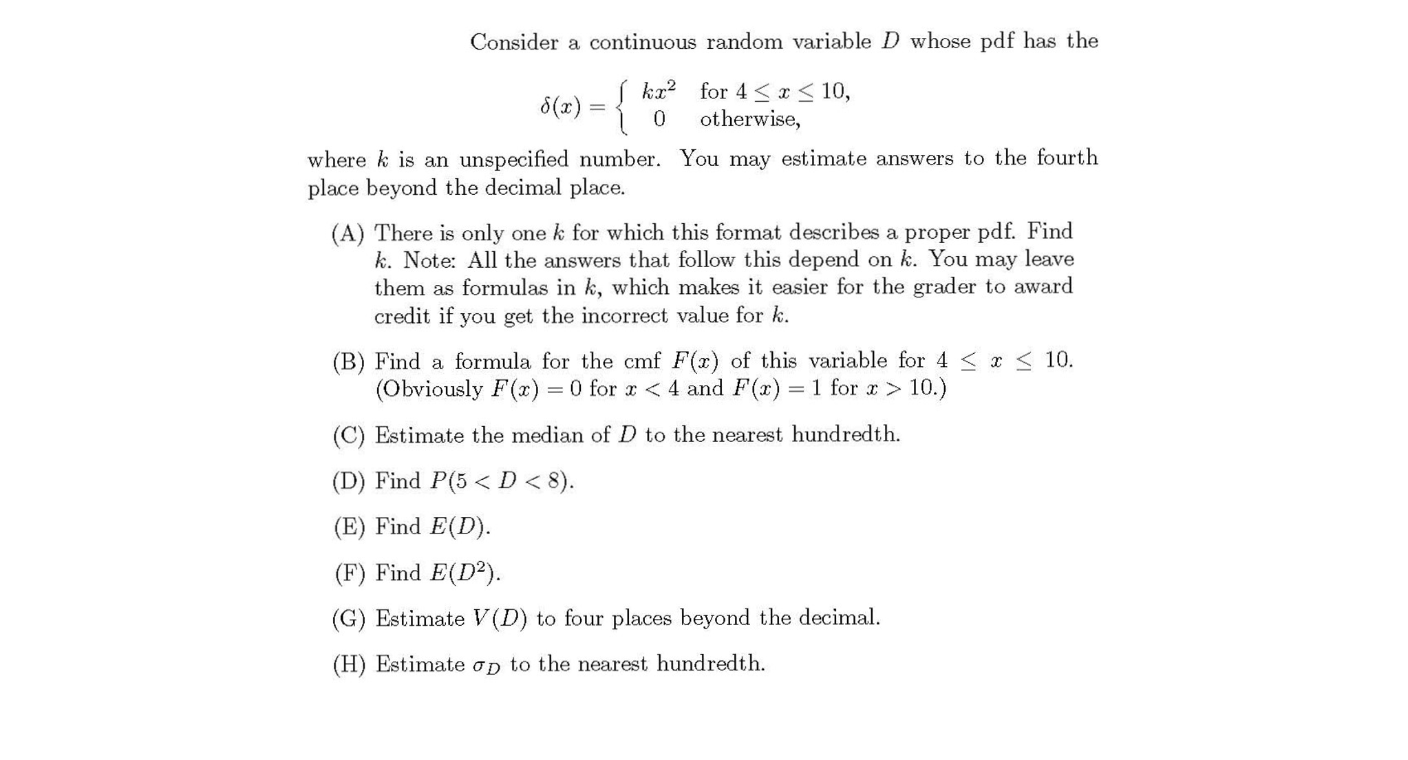 Consider A Continuous Random Variable D Whose Pdf