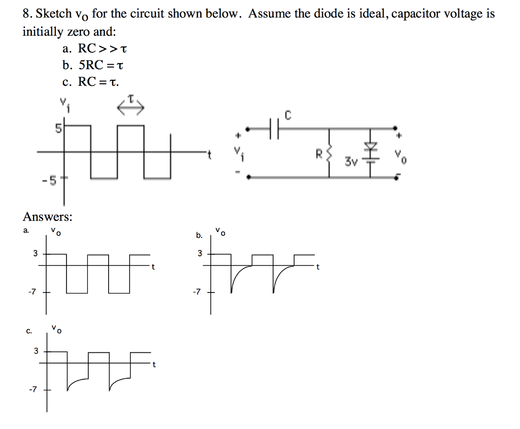 Solved Sketch V O For The Circuit Shown Below Assume Consider Series Rccircuit Cheggcom Vo Diode Is Ideal