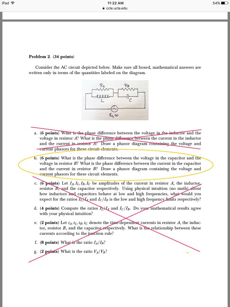 Solved Consider The Ac Circuit Depicted Below Make Sure Ipad 4 Diagram 1122 Am Ccleuclaedu Problem 2 34 Points