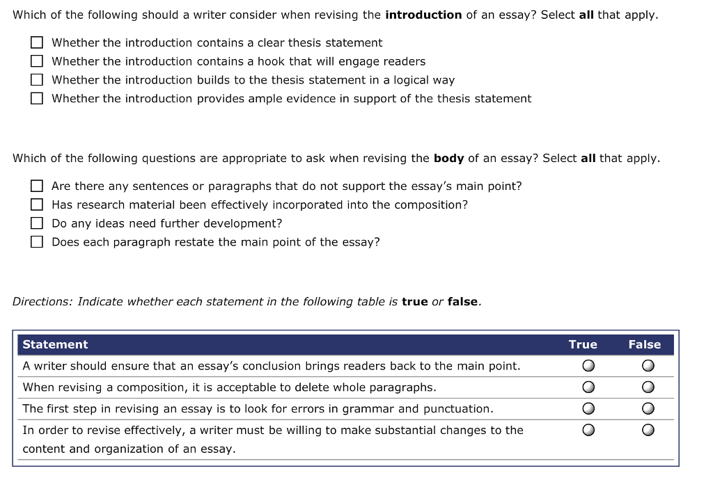 Solved Which Of The Following Should A Writer Consider Wh  Question Which Of The Following Should A Writer Consider When Revising The  Introduction Of An Essay Selec