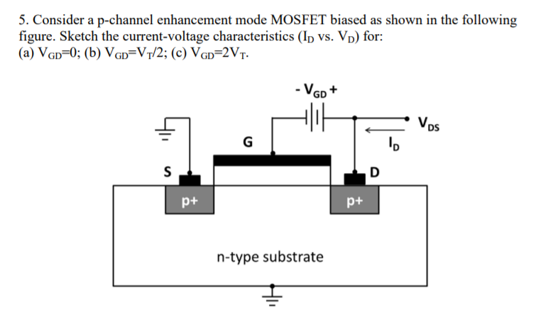 Solved: 5  Consider A P-channel Enhancement Mode MOSFET Bi