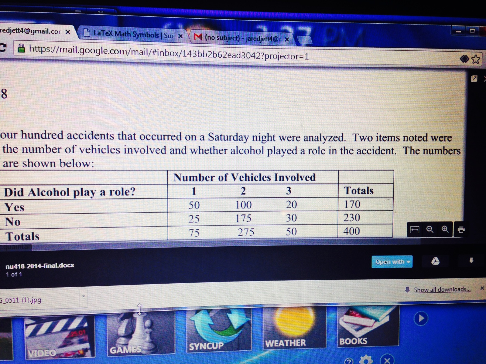 Solved: 1  What Proportion Of Accidents Involved More Than