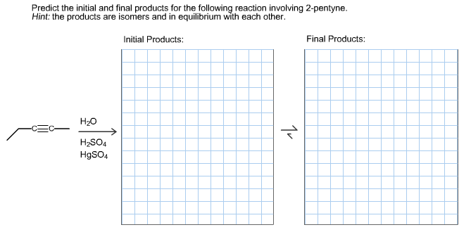final predict initial pentyne reaction following involving hint each isomers chegg equilibrium transcribed text