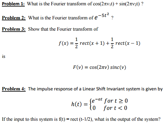 Solved What Is The Fourier Transform Of Cos 2pi V 1 T Chegg Com