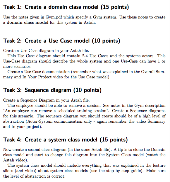Solved use the notes given in gympdf which specify a gym task 1 create a domain class model 15 points use the notes given ccuart Image collections
