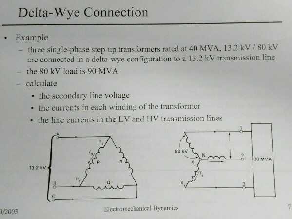 Solved: Delta-Wye Connection Example Three Single-phase St ...