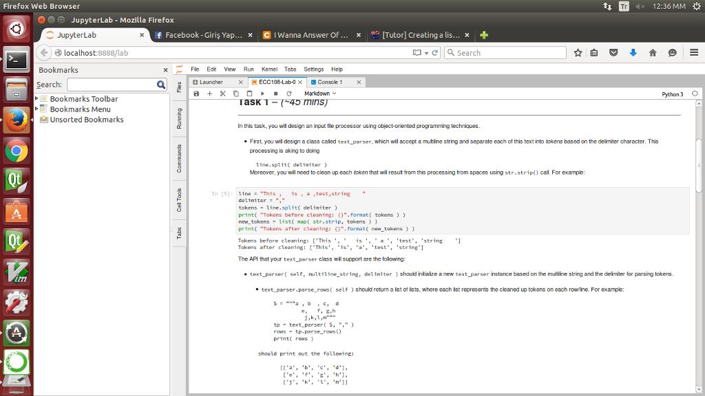 Solved: Firefox Web Browser 1, : 12:36 MM JupyterLab - Moz