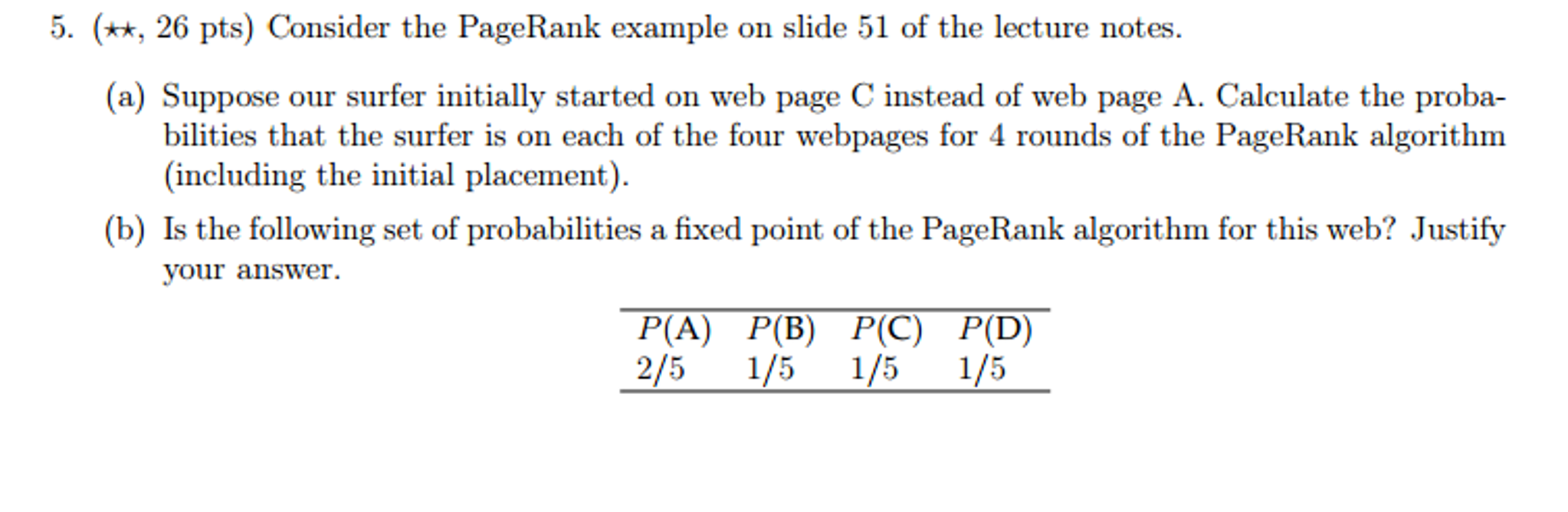 PageRank On A Simple Web 1  Initially Put Our Surf