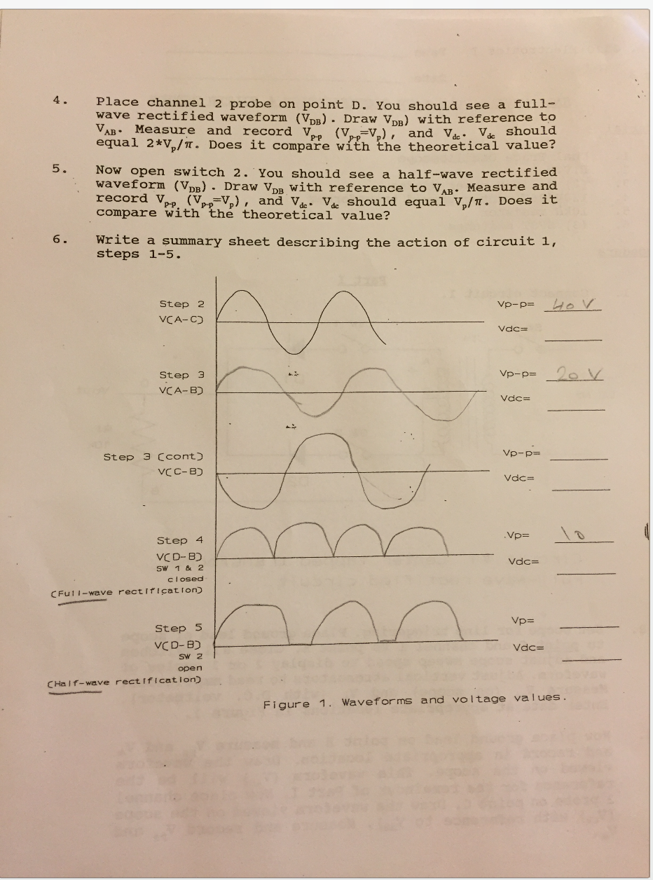 Solved Tech I Name 2320 Electronics Lab 3 Date Half Wave Circuit Diagram Maker Electronicslab See More Show Transcribed Image Text Full Rectification Filter Action Aterial 1