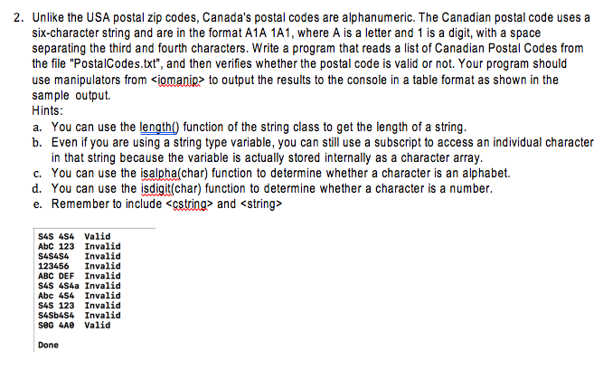 Solved 2 Unlike The Usa Postal Zip Codes Canada S Posta