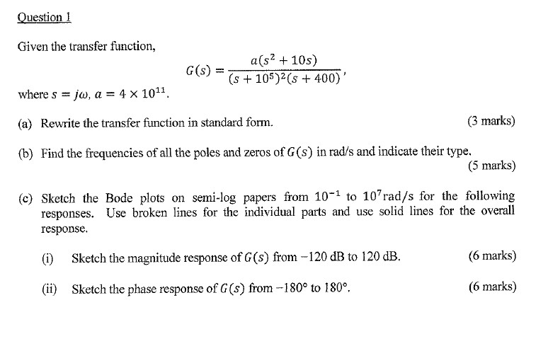 fcfac78e76b Solved: Given The Transfer Function, G (s) = A(s^2 + 10s ...