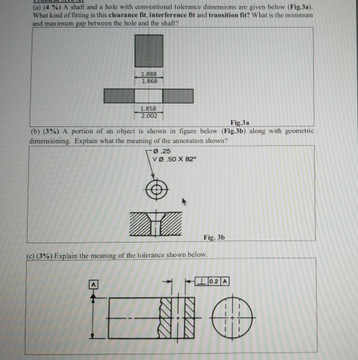 Solved: (a) (4 %) A Shaft And A Hole With Conventional Tol