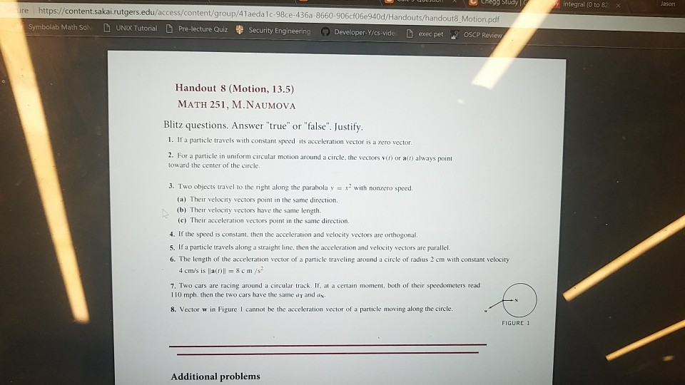 Solved: Calc 3 Question, From 1 To 8 Help Me Out!! If I