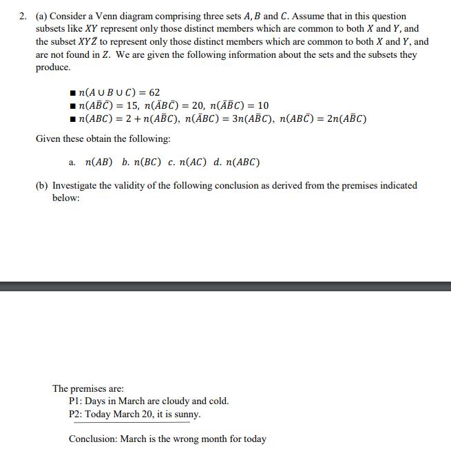 Solved 2 A Consider A Venn Diagram Comprising Three Se