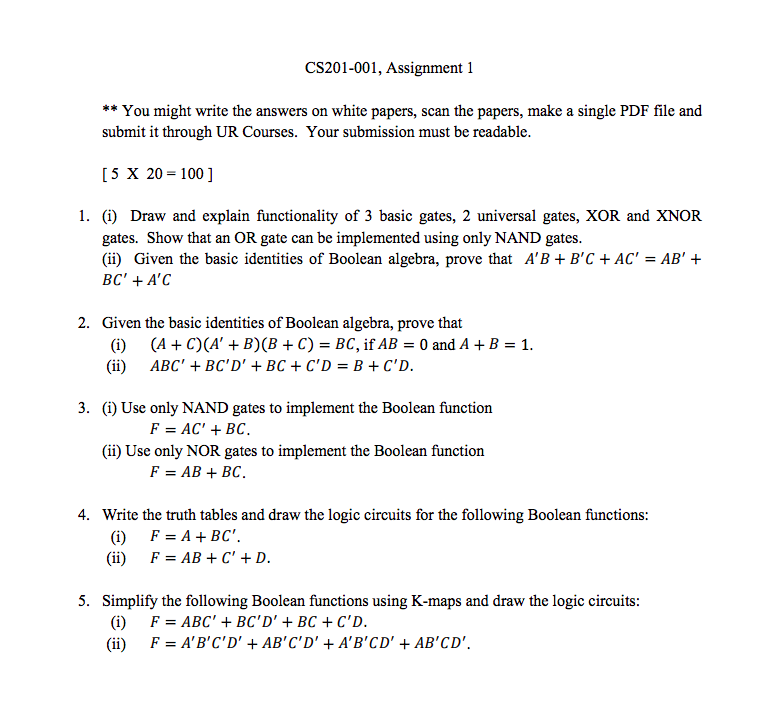 cs assignment you might write the ans com cs201 001 assignment 1 you might write the answers on white papers