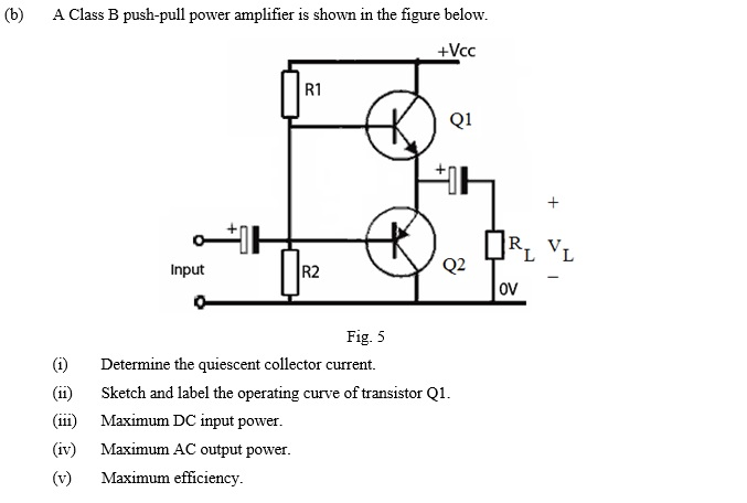 Solved: (b) A Class B Push-pull Power Amplifier Is Shown I