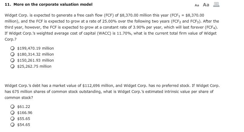 Solved: 11  More On The Corporate Valuation Model Widget C
