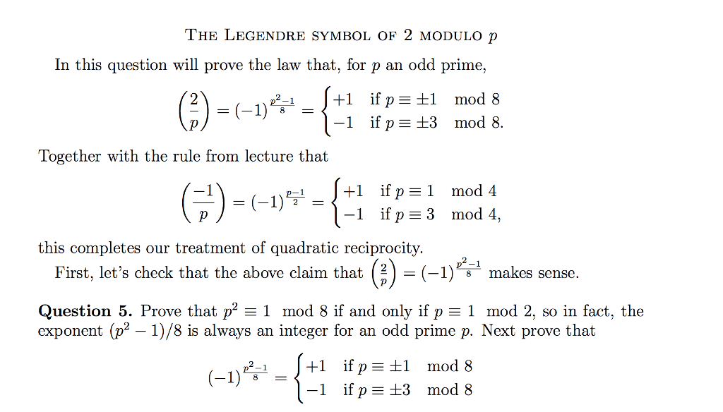 Solved The Legendre Symbol Of 2 Modulo P In This Question