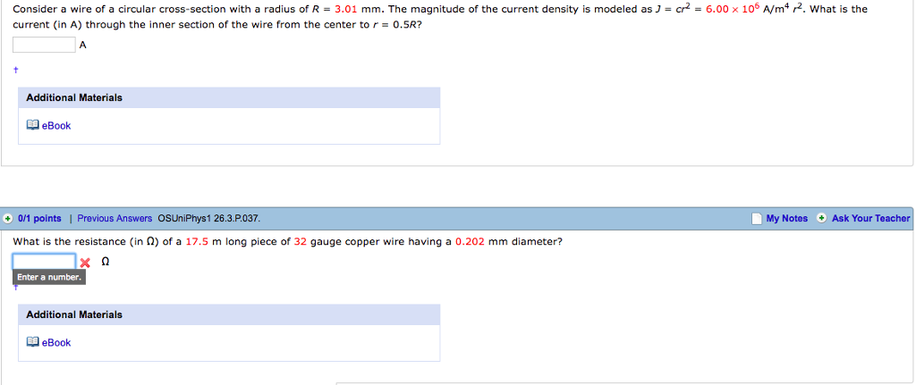 Solved: = 6.00 X 106 A/m4 P. What Is The Consider A Wire O ...
