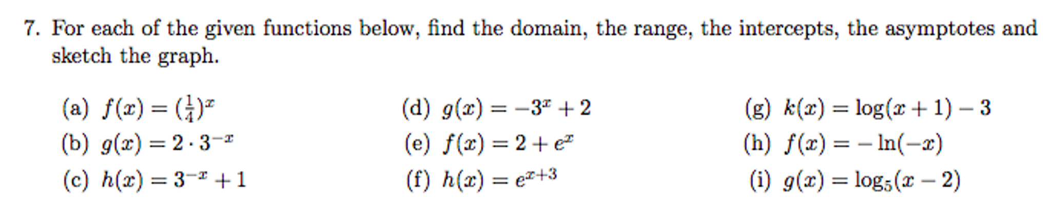 For Each Of The Given Functions Below, Find The Do
