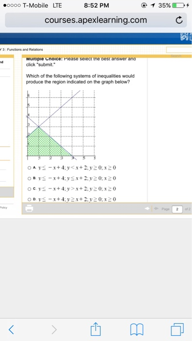 Algebra archive march 06 2016 chegg which of the following systems of inequalities wou fandeluxe Images