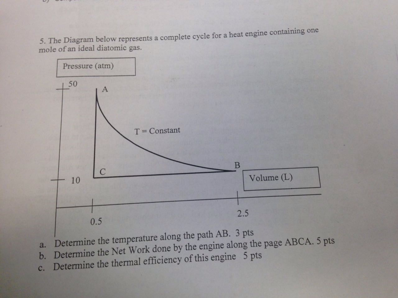 The Diagram below represents a complete cycle for a heat engine containing