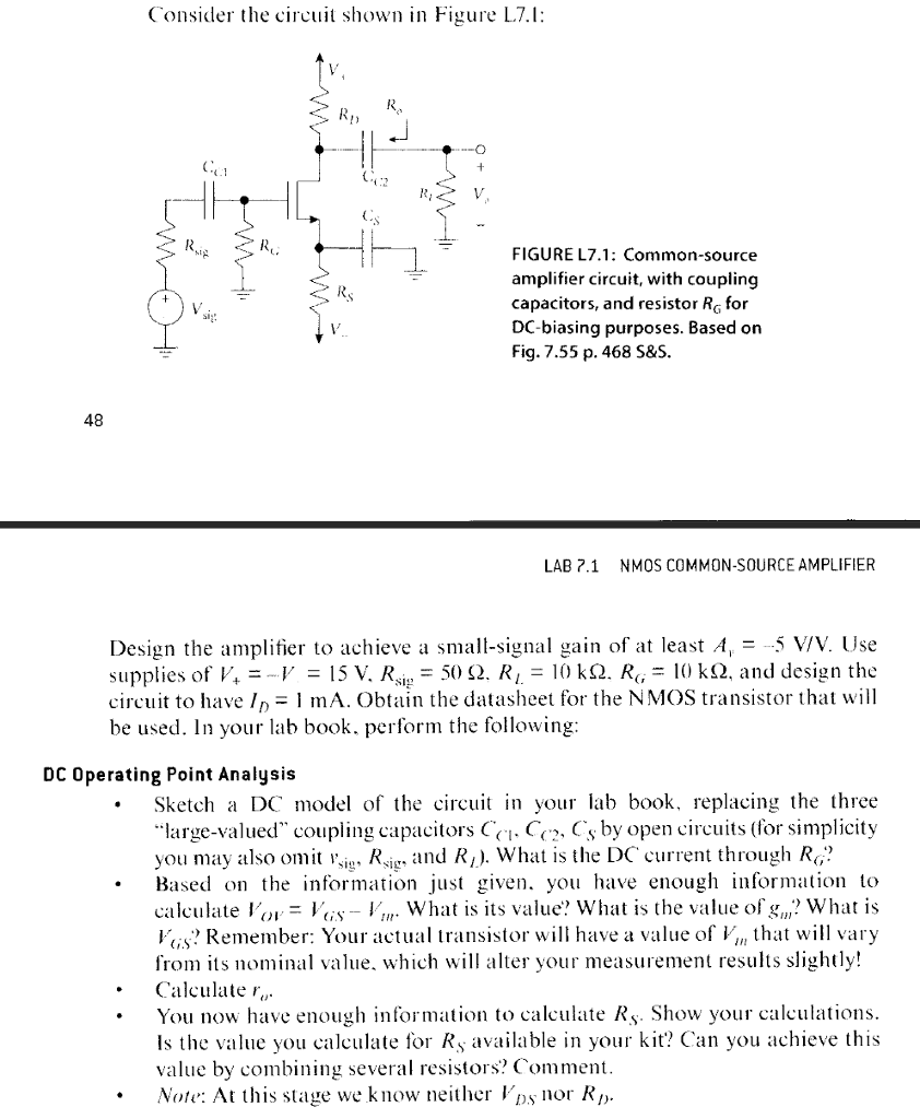Solved Consider Te Cirit Shown In Figure L71 2 Figur Circuit To Use Nmosfet Instead Of Pmosfet Electrical Engineering L7