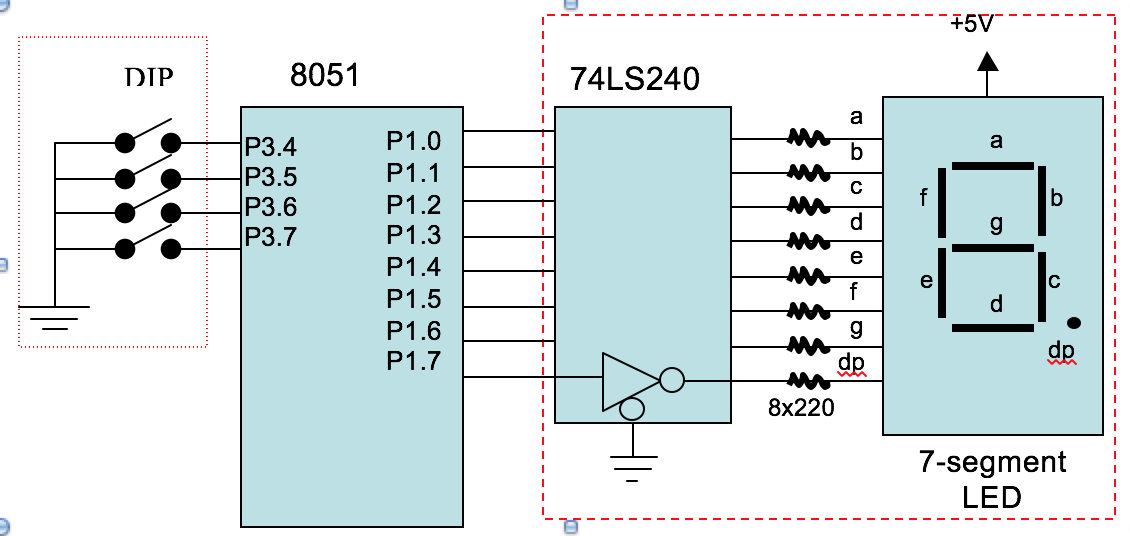 Solved A 4 Bit Dip Switch And A Common Anode 7 Segment Le
