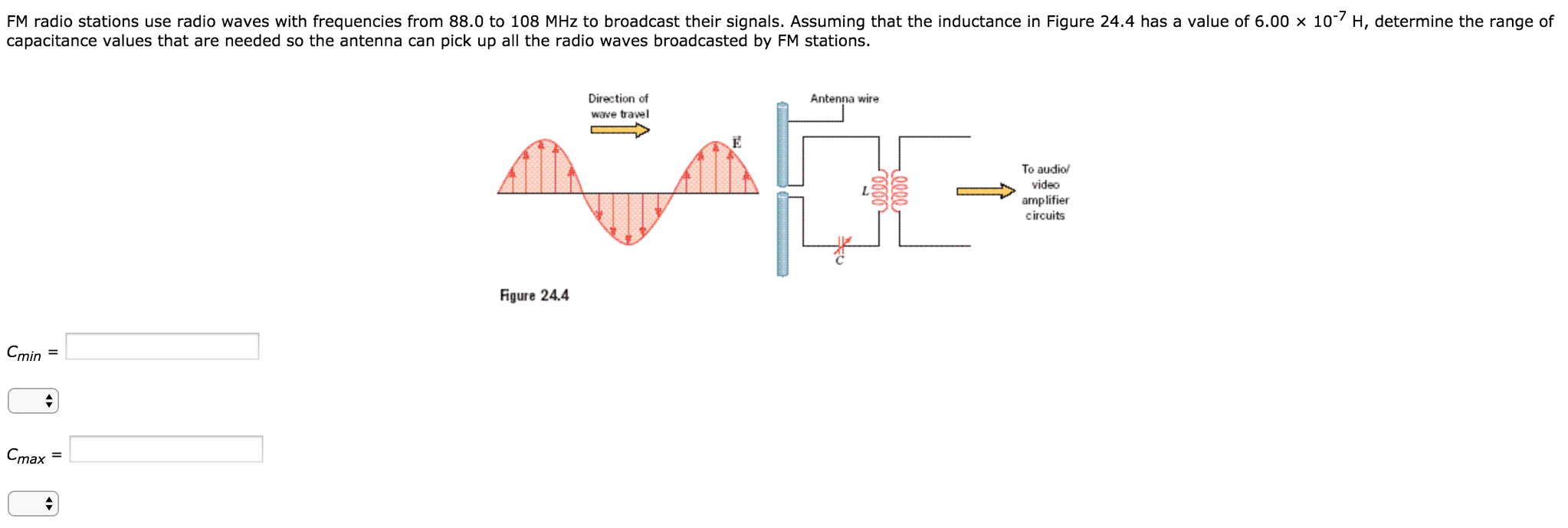 Solved Fm Radio Stations Use Waves With Frequencies Circuit Diagram From 880 To 108 Mhz Broadcast Their