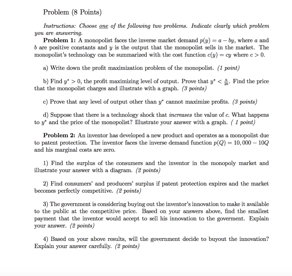 Solved Problem 8 Points Instructions Choose One Of The