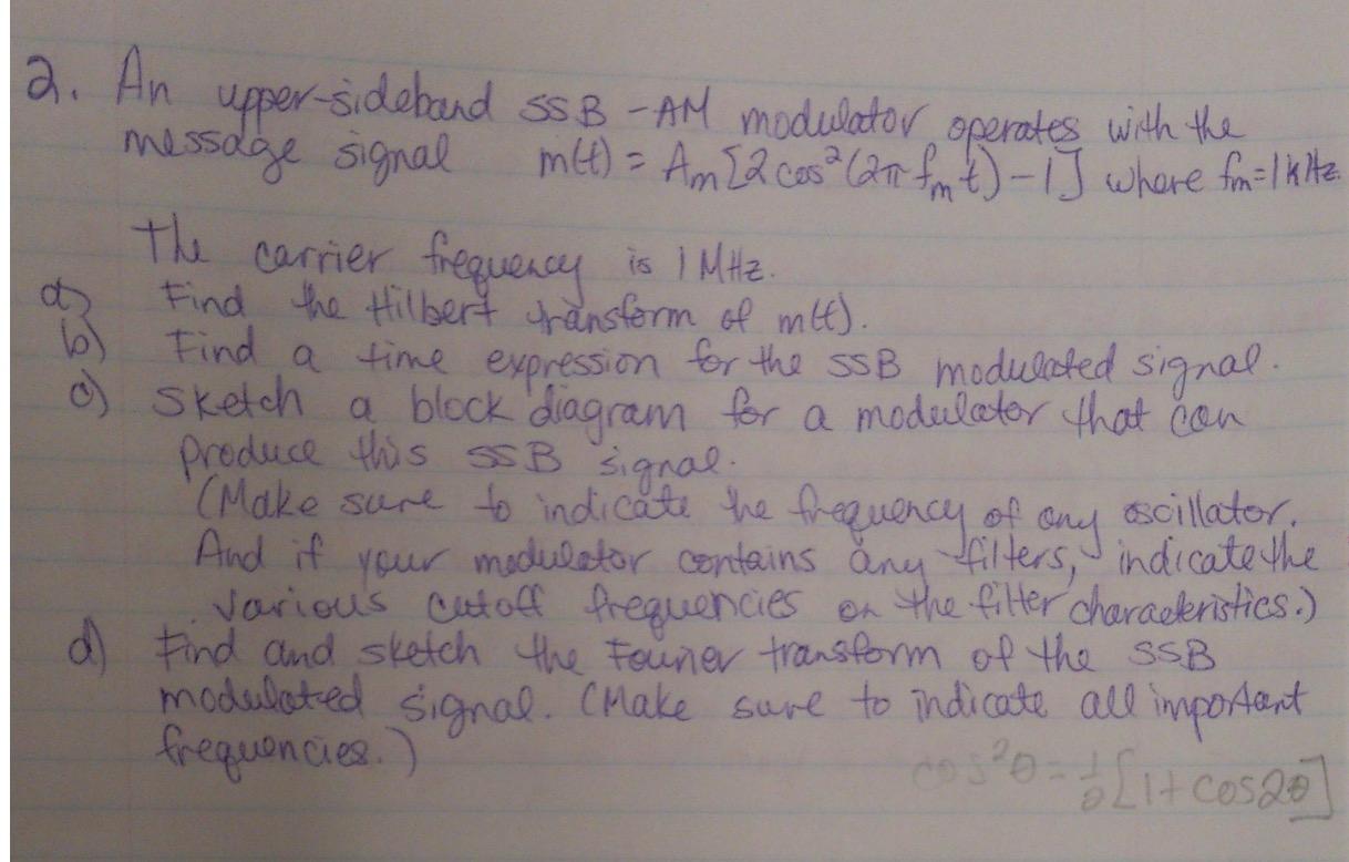 Solved: An Upper-side Bond SSB - AM Modulator Operates Wit