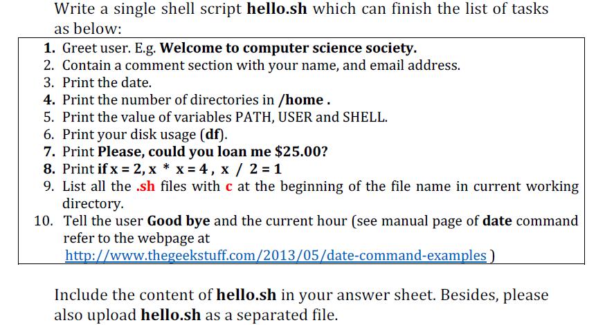 Solved: [Shell Script Problem] Please Provide Shell Script