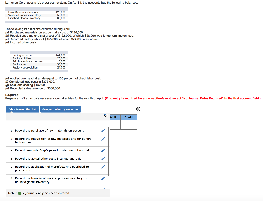 Solved: Lamonda Corp. Uses A Job Order Cost System. On Apr ...