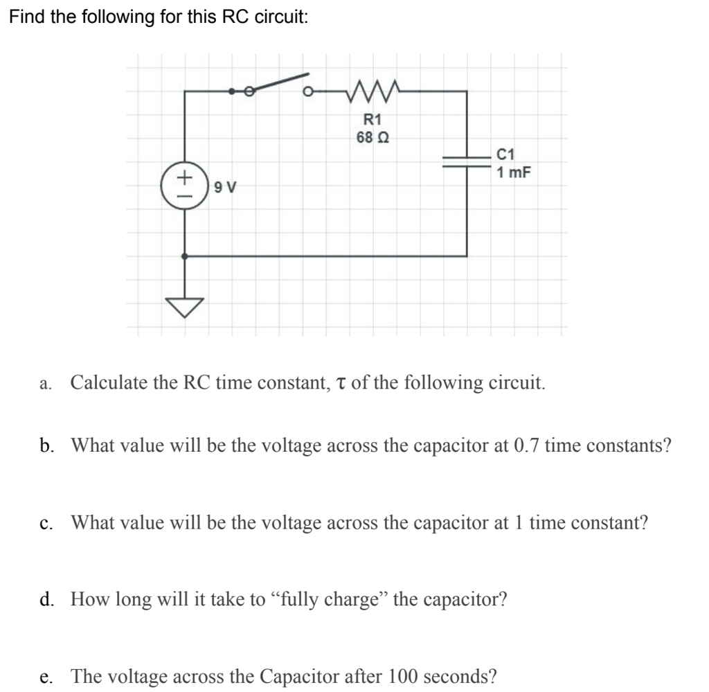 Find the following for this RC circuit: R1 68 Ω C1 a. Calculate the