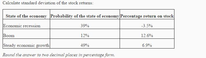 Solved Calculate Standard Deviation Of The Stock Returns